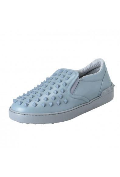 Valentino Garavani Men's Gray Leather Studded Loafers Slip On Shoes