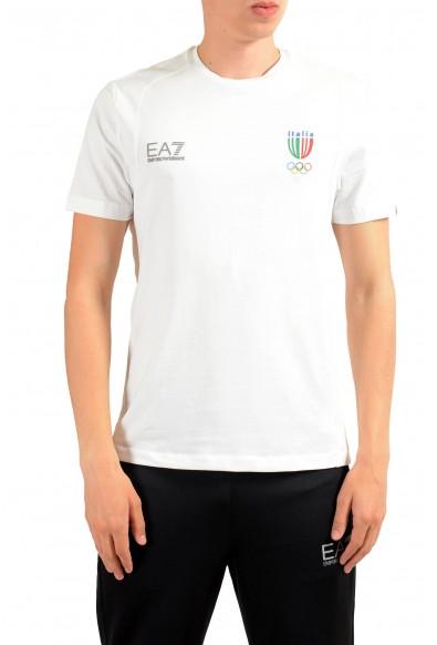 "Emporio Armani EA7 ""Italia Team"" Men's White Stretch Crewneck T-Shirt"