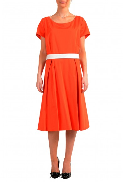 "Hugo Boss Women's ""Dalene"" Orange Belted Fit & Flare Dress"