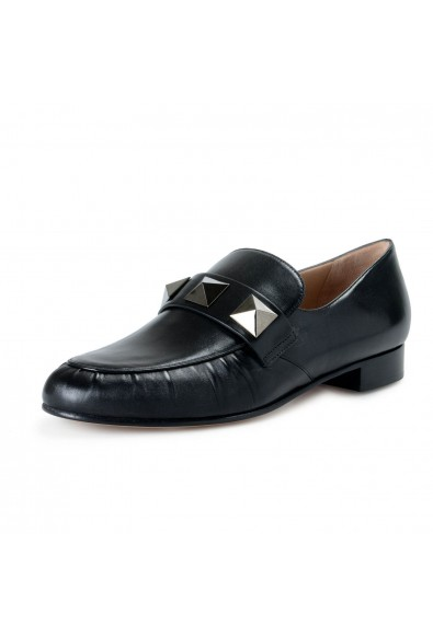 Valentino Garavani Women's Black Leather Loafers Slip On Flats Shoes