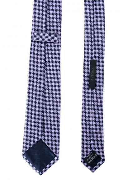 Z Zegna Men's Purple Geometric Print Silk Tie: Picture 2