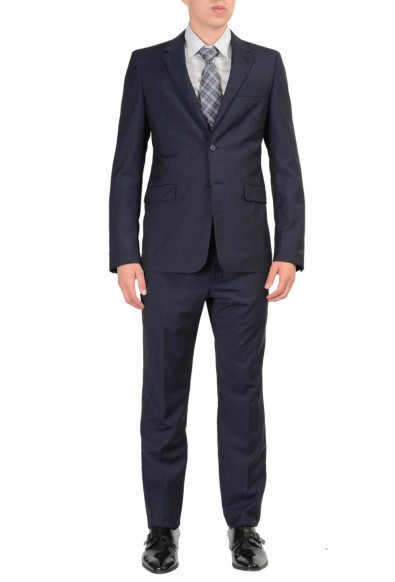 Prada 100% Wool Navy Checkered Two Buttons Men's Suit