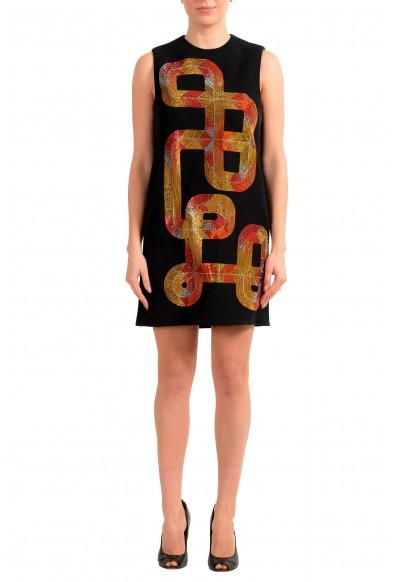 Versace Collection Women's Black Embellished Shift Mini Dress