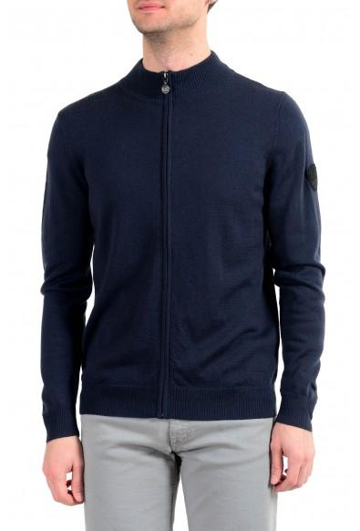 "Emporio Armani EA7 ""Ski"" Men's Dark Blue 100% Wool Full Zip Sweater"