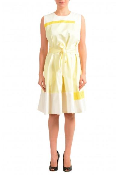 "Hugo Boss Women's ""Dadesa"" Yellow Belted Sleeveless Sundress Dress"
