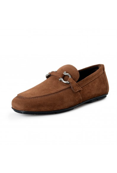 Salvatore Ferragamo Men's Nowell 3 Suede Brown Leather Loafers Slip On Shoes