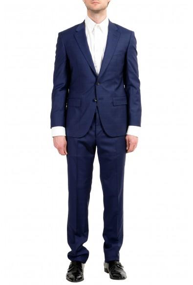 "Hugo Boss ""T-Harvers4/Glover3"" Men's 100% Wool Blue Plaid Slim Two Button Suit"