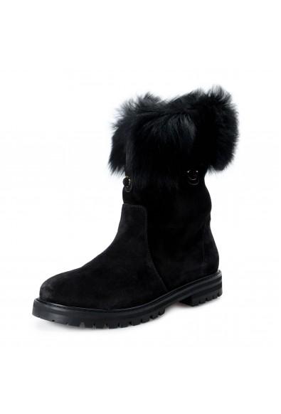 Salvatore Ferragamo Women's VASTO Suede Leather Real Fur Boots Shoes