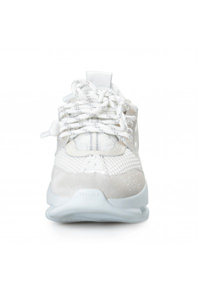 Versace Women's White Chain Reaction Leather Fashion Sneakers Shoes : Picture 2