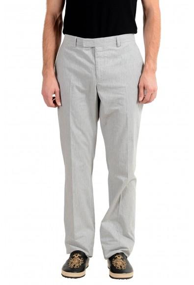 John Varvatos Men's Linen Gray Striped Casual Pants