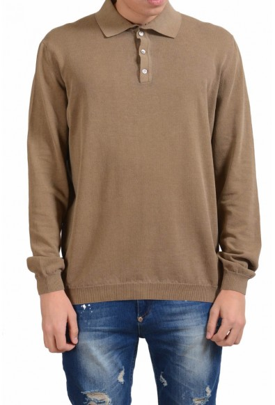 Malo Men's Tawny Brown Polo Light Sweater