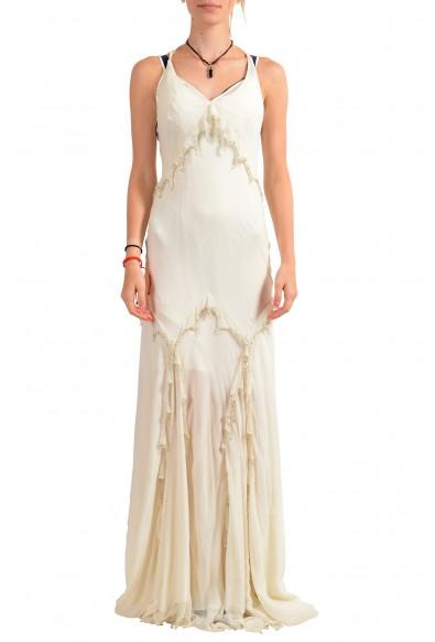 Roberto Cavalli Women's Ivory 100% Silk Embellished Evening Dress
