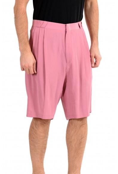 Versace Men's Purplish Pink 100% Silk Pleated Shorts: Picture 2