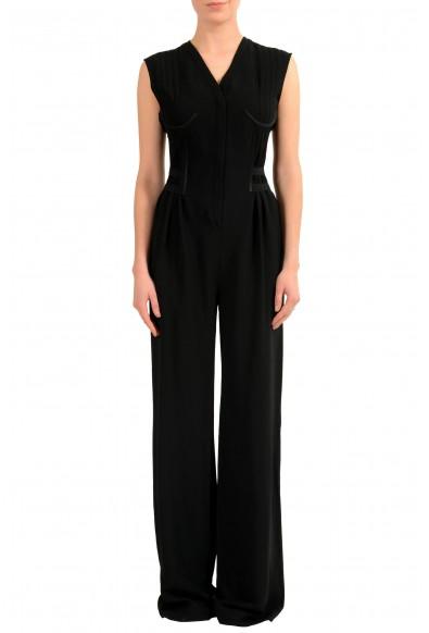 Maison Margiela 1 Women's Wool Black Sleeveless Straight Leg Jumpsuit