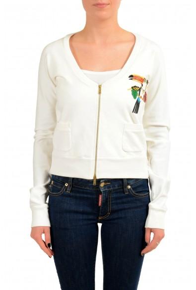 Dsquared2 Women's White Embellished Full Zip Track Jacket