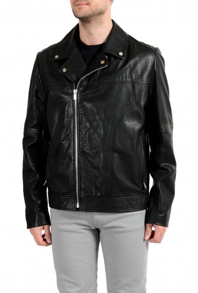 "Hugo Boss ""Lovell"" Men's 100% Leather Black Double Breasted Jacket"
