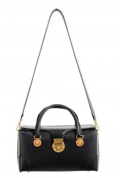Versace Women's V-Adiona Black Leather Shoulder Bag