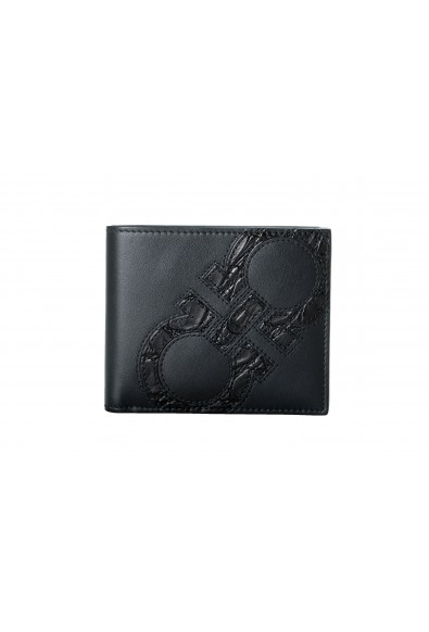 Salvatore Ferragamo Men's Croc & Leather Black Bifold Wallet