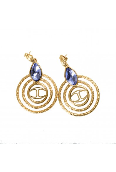 Just Cavalli Women's Gold Snake Earrings With Purple Crystal