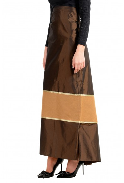 Malo Women's Multi-Color Silk Cashmere Adjusted Waist Maxi Skirt: Picture 2