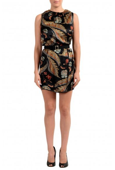 Dsquared2 Women's Floral Print 100% Silk Belted Sleeveless Dress