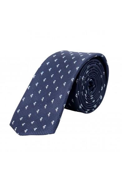 Hugo Boss Men's Blue Floral Print 100% Silk Tie