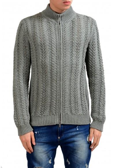 Malo Men's Silk Cashmere Gray Full Zip Heavy Knitted Sweater