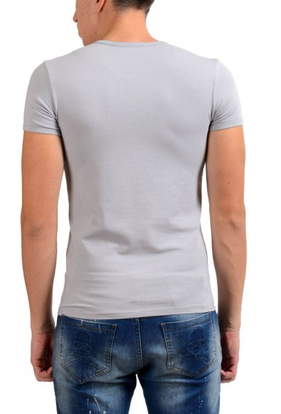 Versace Collection Men's Gray Stretch V-Neck Short Sleeve T-Shirt: Picture 2