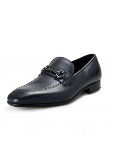 "Salvatore Ferragamo Men's ""Giant"" Dark Blue Leather Slip On Loafers Shoes"