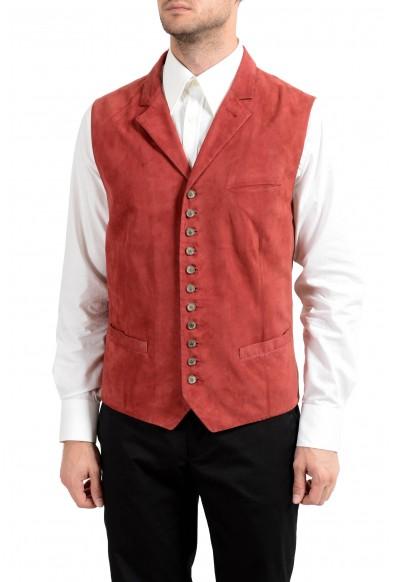 John Varvatos Men's 100% Suede Leather Brick Red Button Up Vest