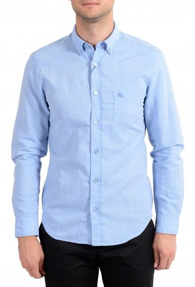 Burberry Brit Men's Blue Linen Button-Down Long Sleeve Casual Shirt
