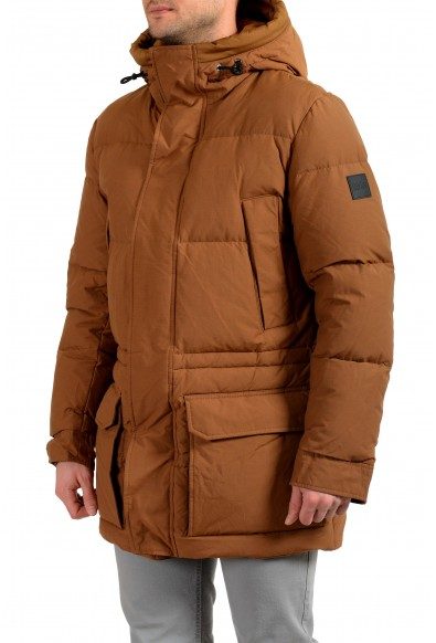 """Hugo Boss Men's """"Domerios"""" Brown Hooded Long Down Parka Jacket: Picture 2"""