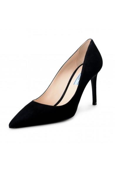 Prada Women's Black Suede Leather High Heel Classic Pumps Shoes