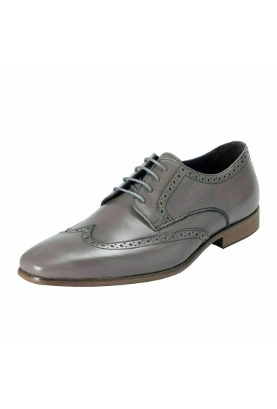 A. Testoni Basic Men's Leather Gray Lace Up Oxford Shoes