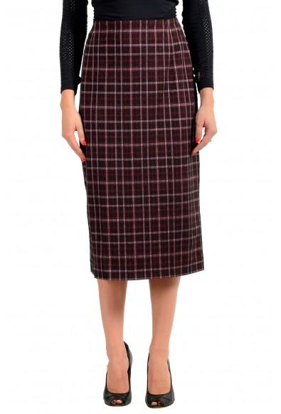 "Hugo Boss Women's ""Vecka"" Multi-Color Plaid Midi Pencil Skirt"