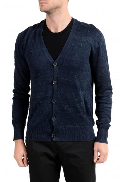 John Varvatos Men's 100% Linen Navy Blue Cardigan Sweater