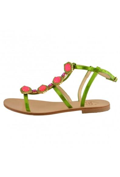 "Emanuela Caruso ""Capri"" Women's Stones Decorated Flat Sandals Shoes: Picture 2"