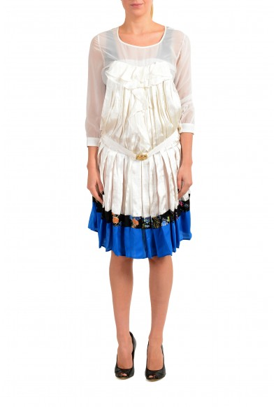 Just Cavalli Women's 100% Silk Pleated Long Sleeve Belted Dress