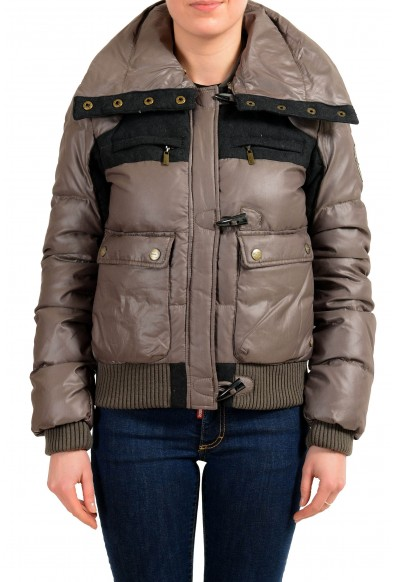 Just Cavalli Wool Multi-Color Full Zip Women's Down Parka Jacket