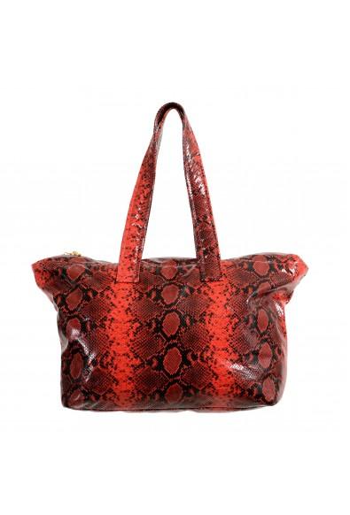 Versace Unisex Red Python Print Leather Large Tote Shoulder Bag