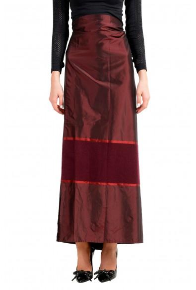 Malo Women's Multi-Color Silk Cashmere Adjusted Waist Maxi Skirt