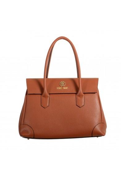 Roberto Cavalli Women's Brown Textured Leather Shoulder Handbag Satchel Bag
