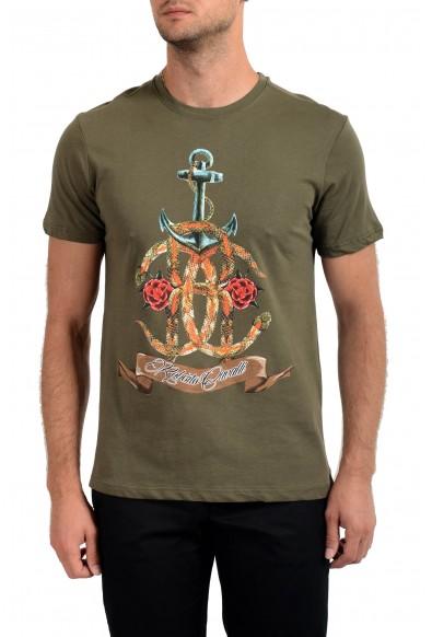 Roberto Cavalli Men's Olive Green Graphic Print Crewneck T-Shirt