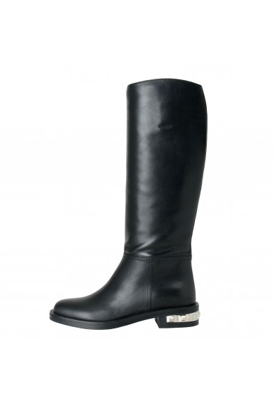 Miu Miu Women's Black Leather Knee Length Boots Shoes: Picture 2