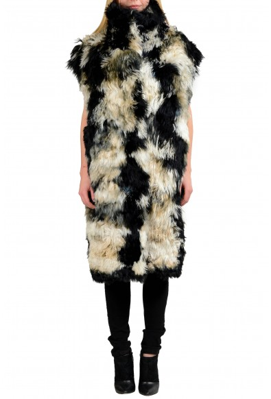 Just Cavalli Wool Alpaca Multi-Color Reversible Women's Vest Coat
