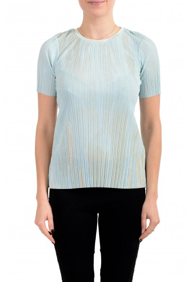 "Hugo Boss Women's ""Etrice"" Blue Stretch Short Sleeve Blouse Top"