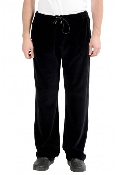 Versace Men's Black Velour Track Sweat Pants