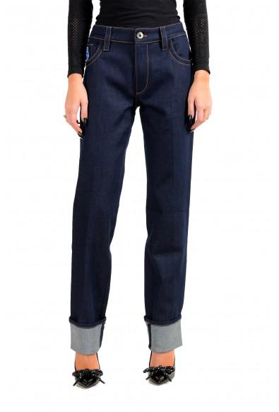 Prada Women's Dark Blue GFP413 Elastic Straight Jeans