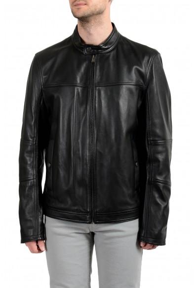 """Hugo Boss """"Nestem_N"""" Men's 100% Leather Black Full Zip Jacket"""