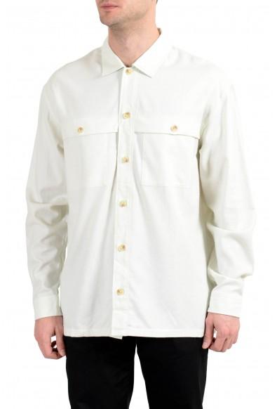 "Hugo Boss ""Emento"" Men's Wool Flannel Ivory Long Sleeve Casual Shirt"